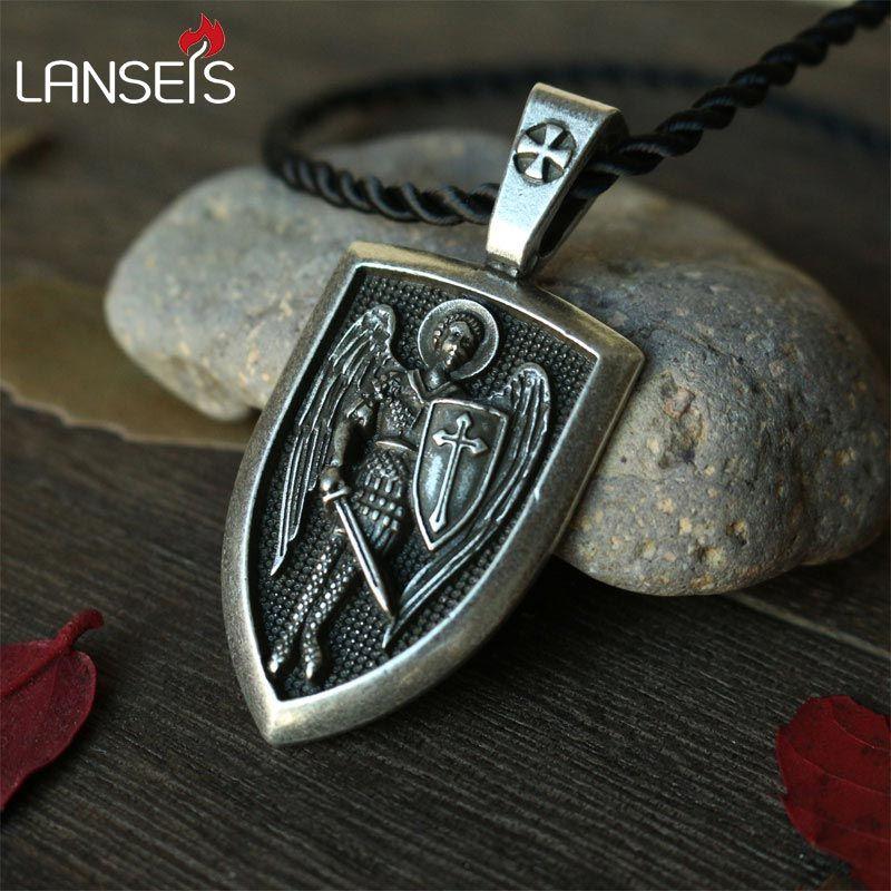 Lanseis 1 pcs dropshipping hommes collier Archange St. Michael Me Protéger Saint Bouclier Charme De Protection russe orhodox pendentif