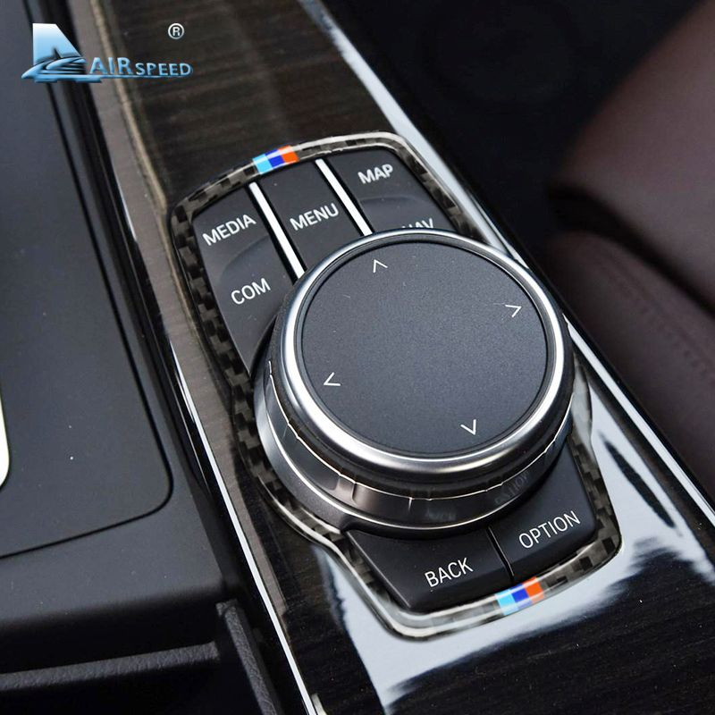 Airspeed Car Carbon Fiber for BMW Multimedia Button Frame Cover Knob Trim for F10 F20 F30 F34 F07 F25 F26 F15 F16 Accessories