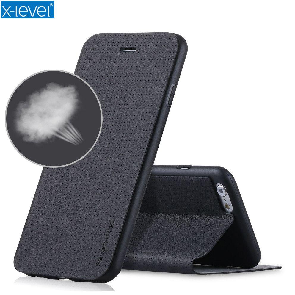 X-level Téléphone En Cuir Pour iPhone 6 6 s 7 8 Plus Étui À Rabat D'origine 360 De Protection pour Apple iPhone 8 7 6 6 s Plus Étui