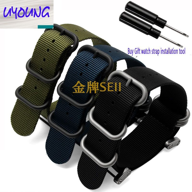 Offre spéciale Kit de bande de sangle en Nylon à long noyau en nylon de l'otan avec adaptateurs de cosses 24mm bandes de montre en zoulou bracelet intelligent en Nylon pour hommes