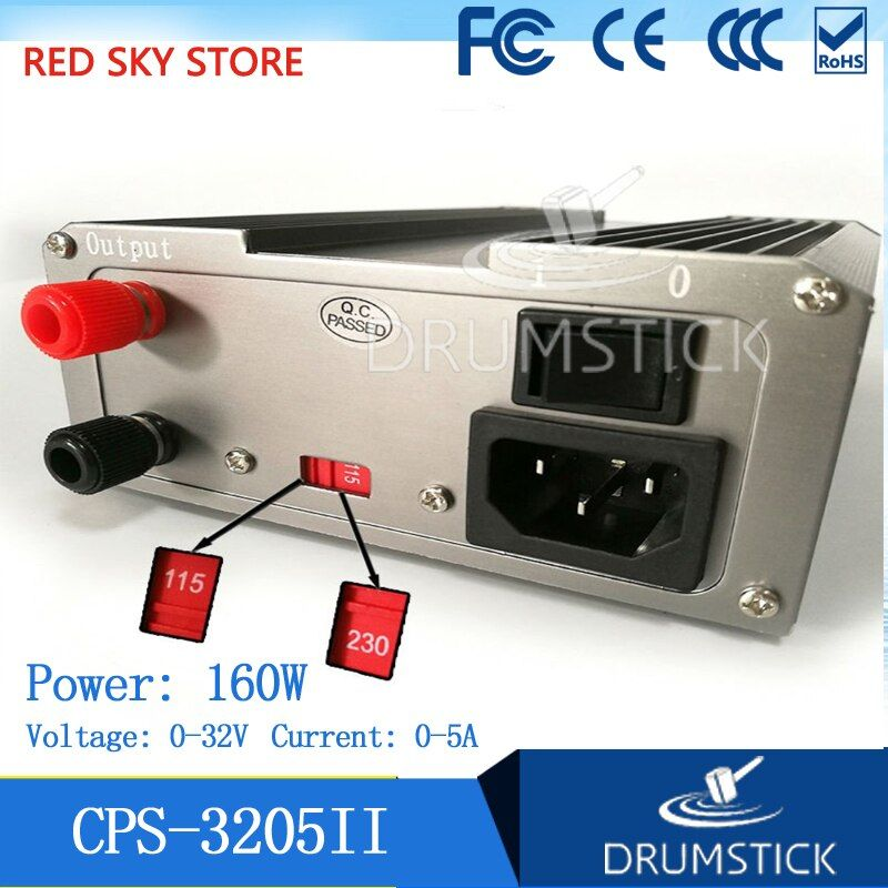 GOPHERT New CPS-3205 II CPS-3205II 160W (110Vac/ 220Vac) 0-32V/0-5A,Compact Digital Adjustable DC Power Supply