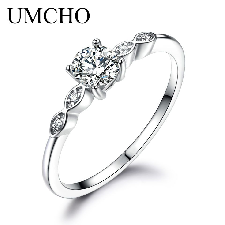 UMCHO Silver 925 Jewelry Luxury Bridal Cubic Zirconia Rings For Women Solitaire Engagement Wedding Party Brand Fine Jewelry