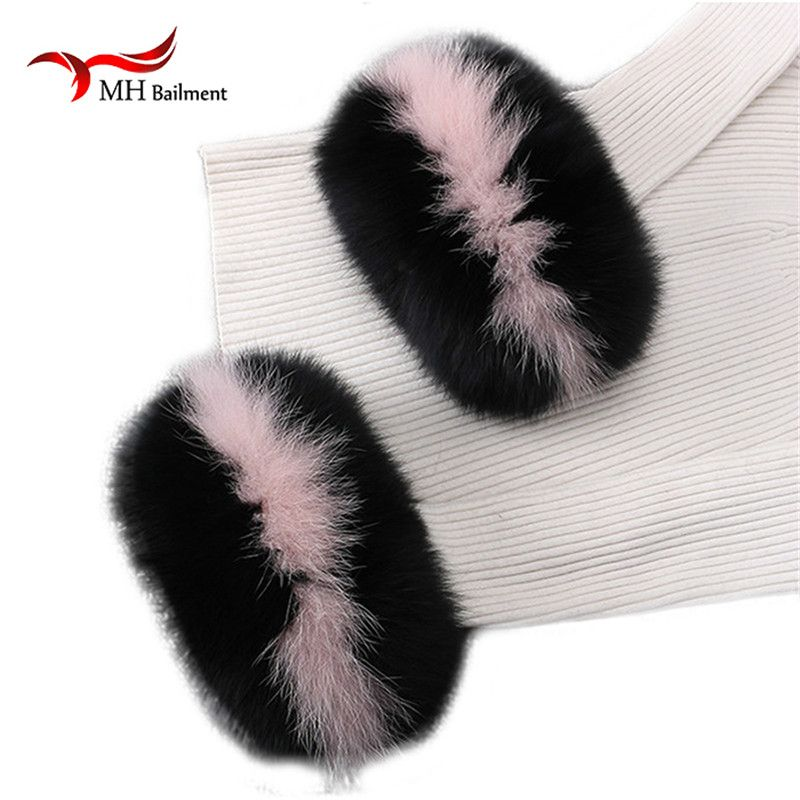 Fox fur Cuffs Hot Sale Wrist Warmer Genuine Fox Fur Cuff Arm Warmer Bracelet Real arm warmers women tattoo sleeve men X#4