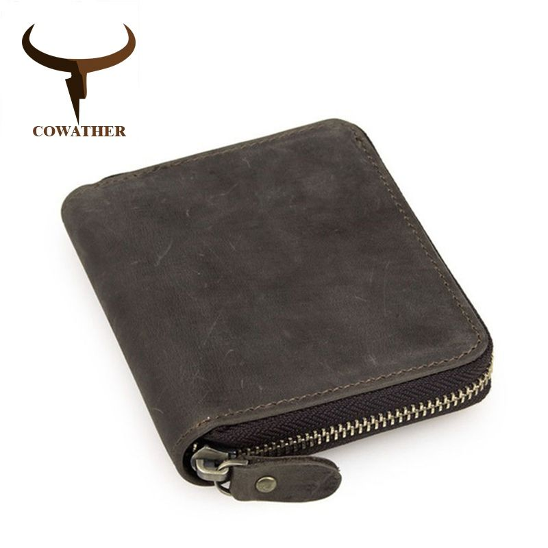 COWATHER top quality cow crazy horse genuine leather men wallets for men male purse luxury carteira masculina original brand