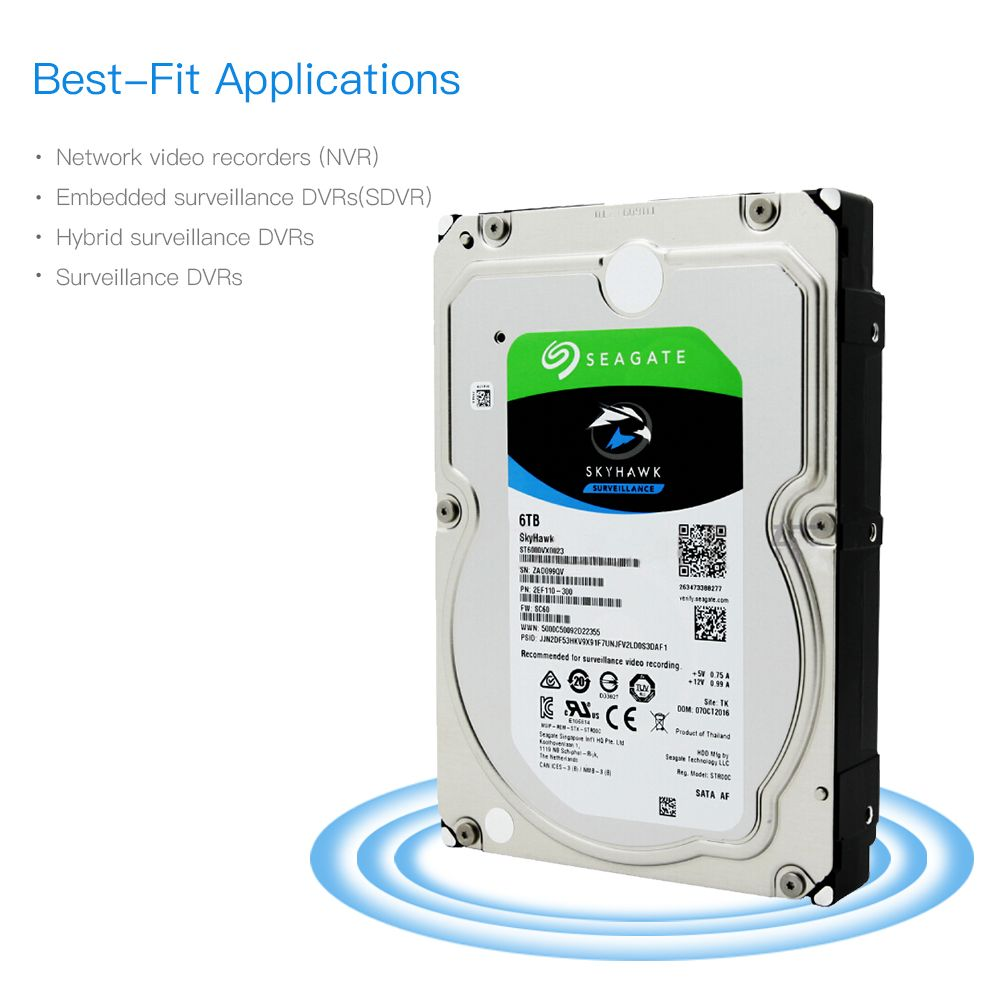 Seagate ST6000VX0023 6TB Video Surveillance HDD Internal Hard Disk Drive 7200 RPM SATA 6Gb/s 3.5 inch 256MB Cache HDD Hard Disk