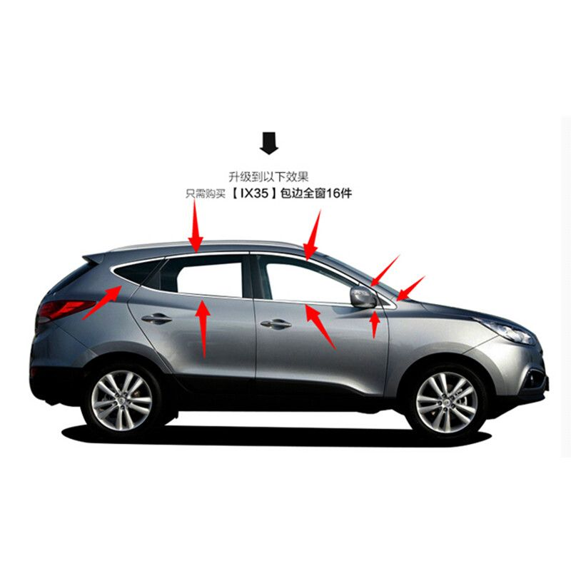 High-quality stainless steel Strips Car Window Trim Decoration Accessories Car styling For 2009-2015 Hyundai ix35 ( 16piece)