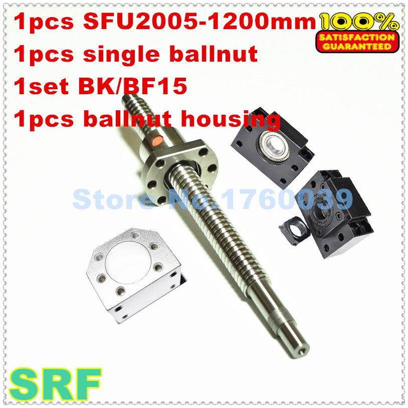 SFU2005 20mm Rolled kugelumlaufspindel eingestellt: 1 stücke SFU2005-L1200mm + 1 stück einzel ballnut + 1 satz BK/BF15 + 1 stücke 2005 kugelmutter gehäuse für CNC