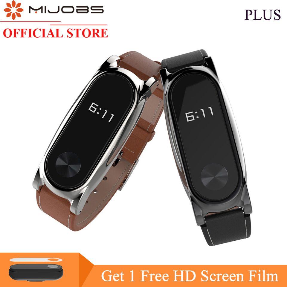 Mi emplois Véritable Bracelet En Cuir Pour Xiao mi mi Bande 2 Smart Montre Sans Vis Bracelet mi Bande 2 Sangle mi bande 2 Bracelet Bracelets