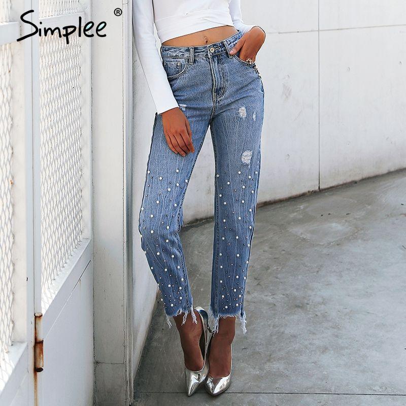 Simplee Pearl tassels <font><b>blue</b></font> high waist jeans female Streetwear pocket casual jeans 2018 Summer denim pants women bottom