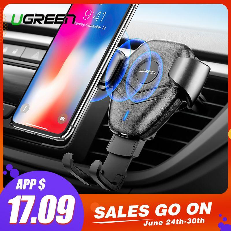 Chargeur sans fil de voiture Ugreen Qi pour iPhone Xs X 8 10 W charge sans fil rapide pour Samsung Galaxy S9 S10 chargeur de support pour téléphone de voiture
