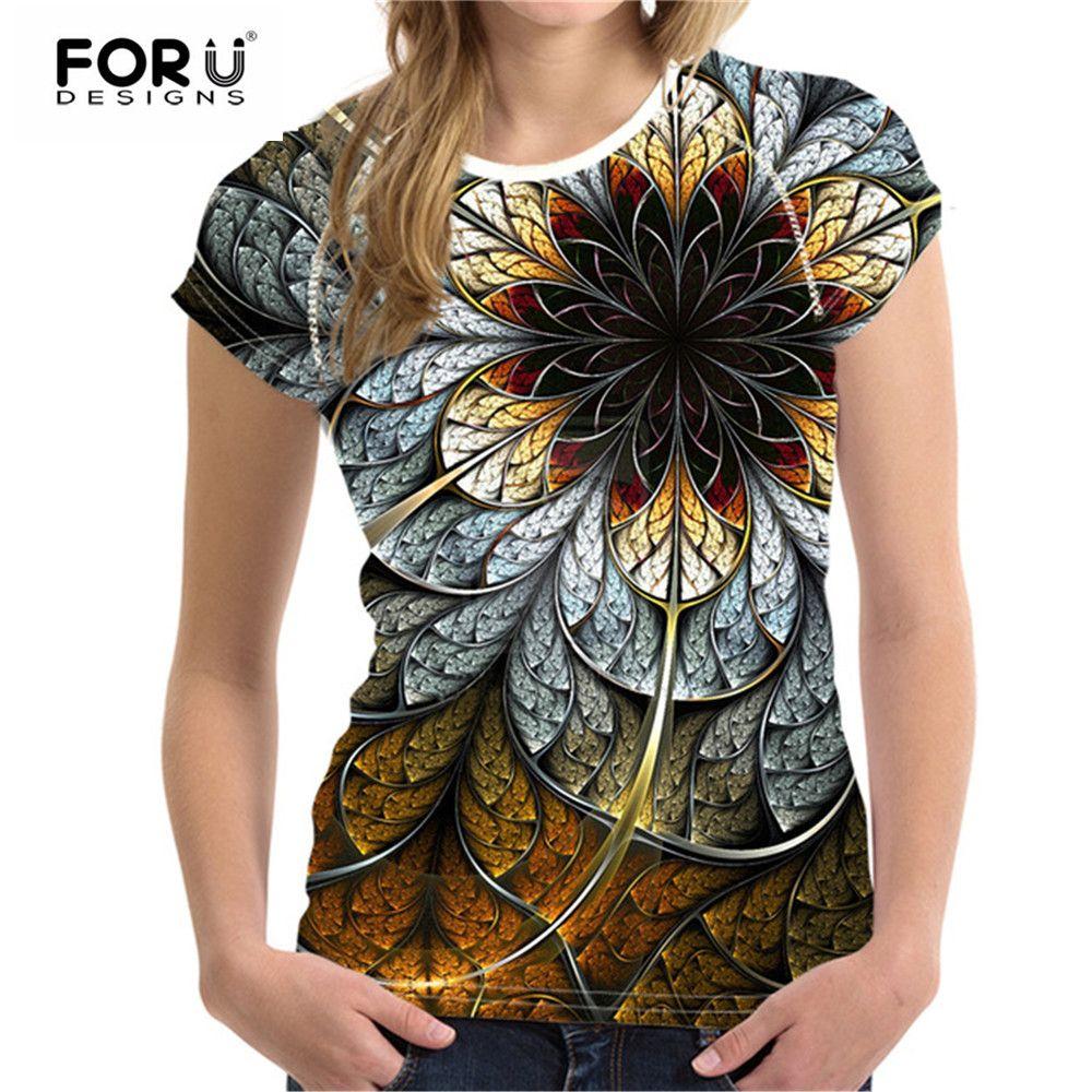 FORUDESIGNS T-shirts haut pour Femme T-shirts 3D Floral T-shirt Femme T chemise Femme De Mode T-shirts Vetement Femme Femme T Shirts Top