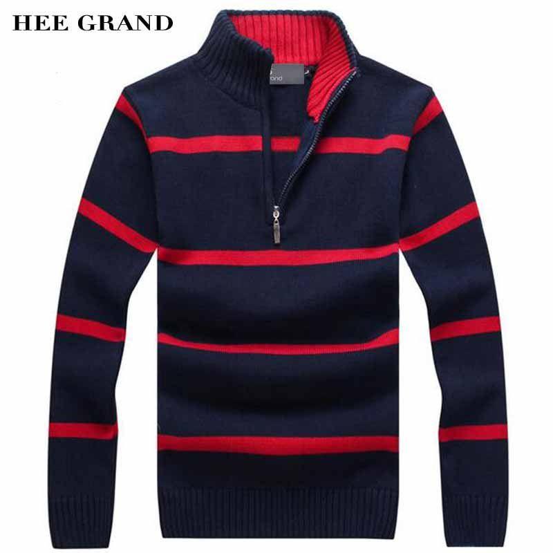 Hee Grand/Для мужчин свитер для повседневной носки Новое поступление 2017 года Стенд воротник в полоску тонкой шерсти осень-зима Пуловеры для жен...