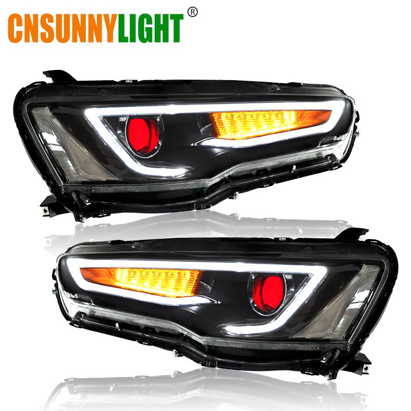 CNSUNNYLIGHT For Mitsubishi Lancer EVO X 2008-2017 Car Headlight Assembly LED DRL Turn Signal Xenon HID Projector Lens Plug Play
