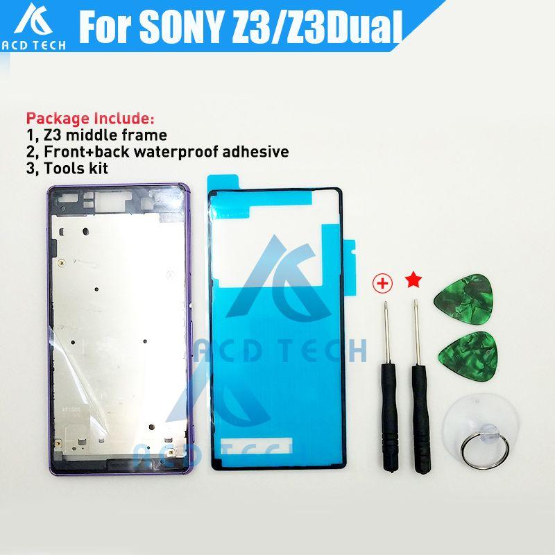 New Middle Frame Bracket Panel Front Frame Bezel Panel Housing for Sony Xperia Z3 D6603/D6653/D6683SOL26Black/White/Gold