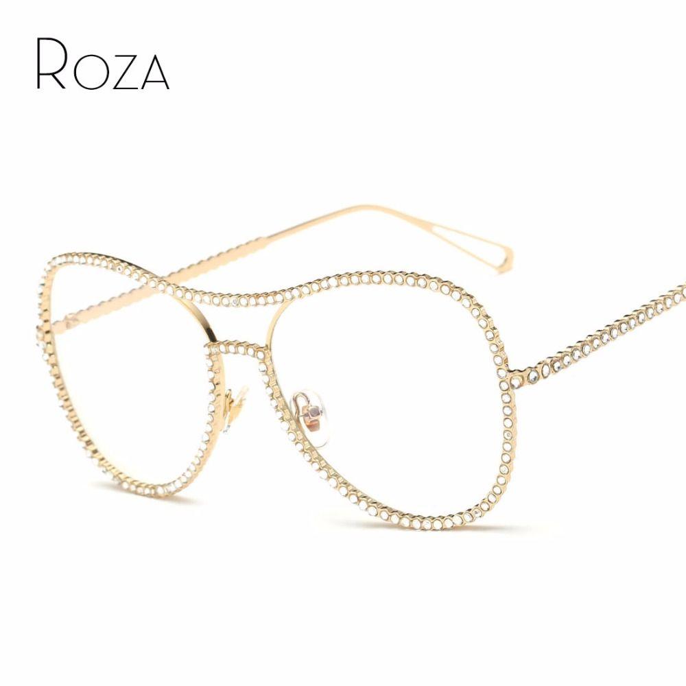 ROZA lunettes de Soleil Femmes Décoratif strass Miroir Lentille Cadre De Cuivre Marque Designer Double Faisceau Lunettes de Soleil UV400 QC0470
