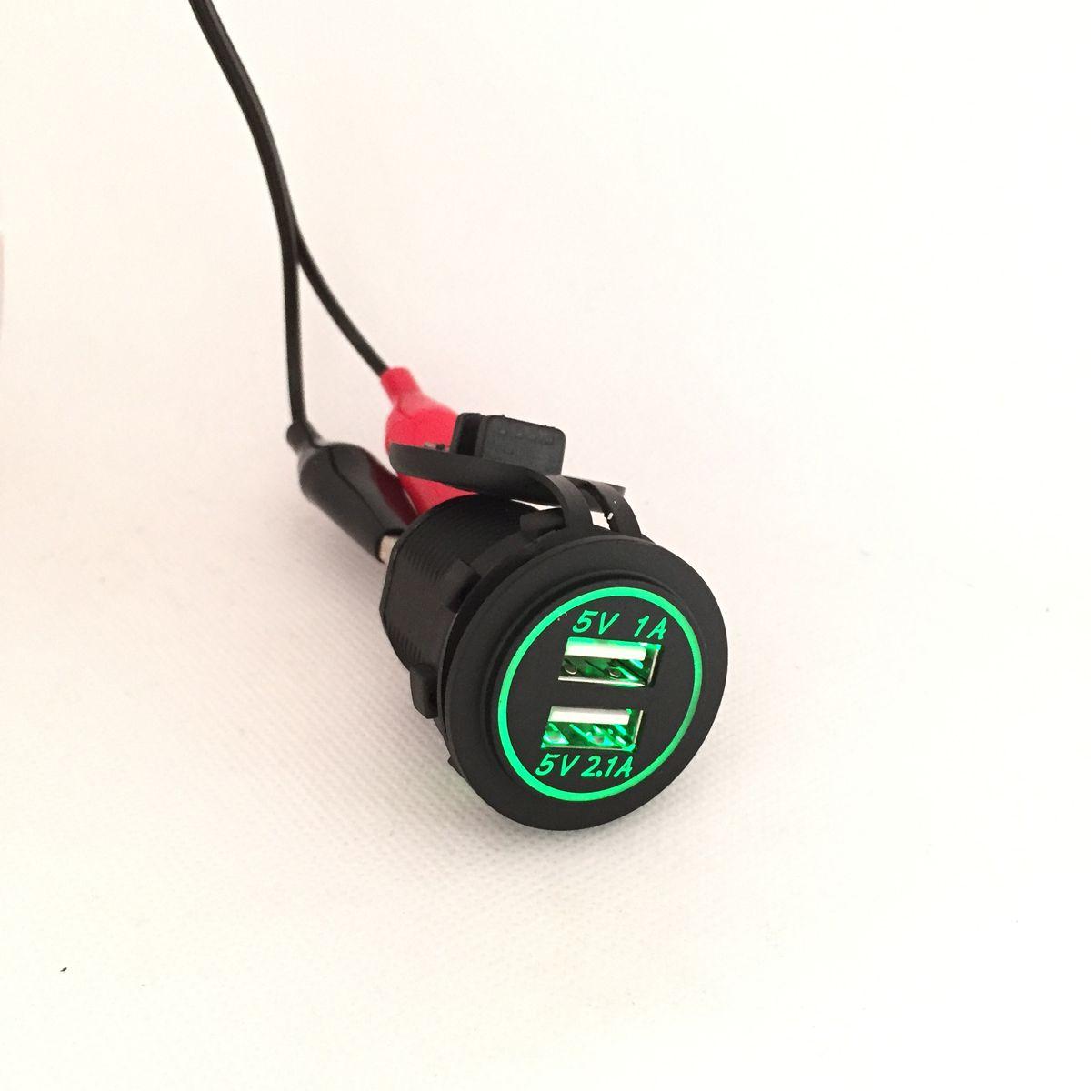 DIY 12 В-24 В Dual USB Автомобильное Зарядное устройство Мощность Outlet 1A & 2.1a для IPad IPhone автомобиля лодка МОРСКОЙ мобильного светодиодный свет синий ...