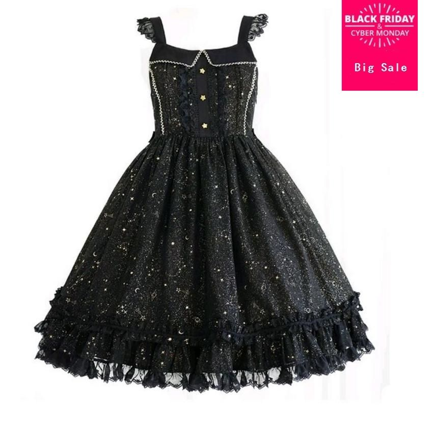 Gorgeous Starry Sky Hot Gold Print Women Suspender strap Dress 2018 new Lolita Princess JSK Dresses ladies With Lace dress L369