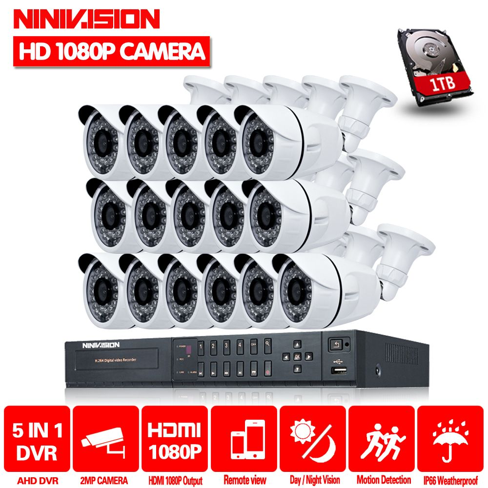 NINIVISION 16CH CCTV System 2MP 1080P HDMI DVR 16PCS Outdoor Home Video Security Cameras Surveillance System With 2TB HDD
