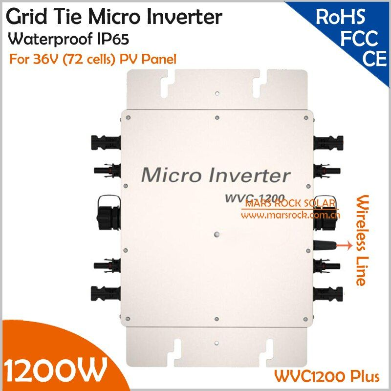 22-50V DC to AC110V or 220V Waterproof 1200W Grid Tie MPPT Micro Inverter with Wireless Communication function for 36V PV System