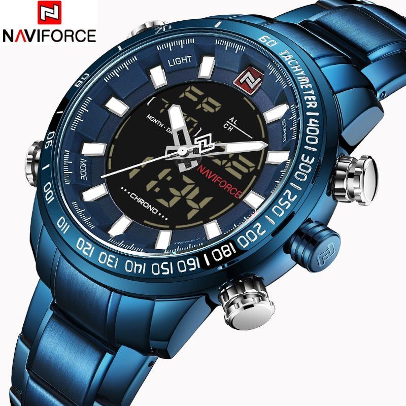NAVIFORCE Luxury Mens Quartz Analog Watch Fashion Sport Digital LED Watch Waterproof Male Watches Clock Man Relogio Masculino
