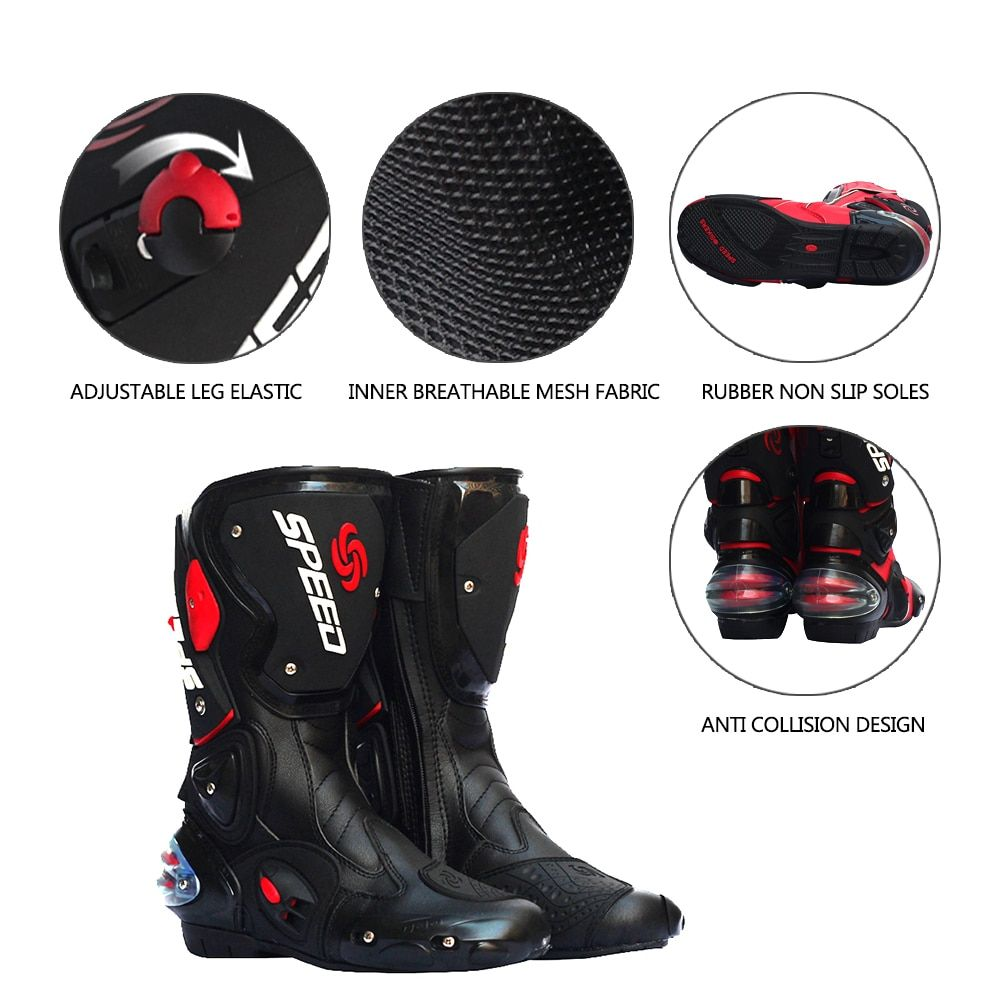 PRO-BIKER SPEED BIKERS Motorcycle Boots Moto Racing Motocross Off-Road Motorbike Shoes Black/White Size 40/41/42/43/44