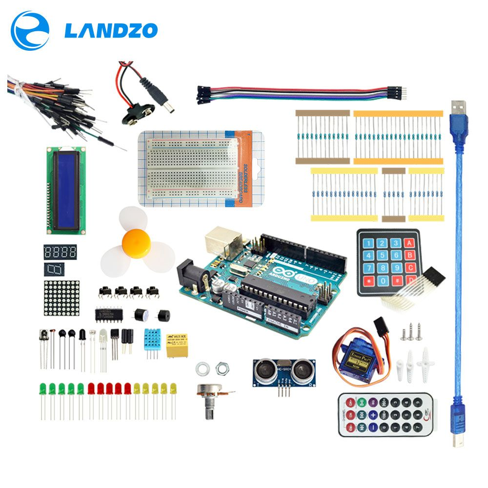 Arduino Starter Kit pour arduino Uno R3-9G Serveur/arduino capteur/1602 LCD/cavalier/UNO R3/Résistance