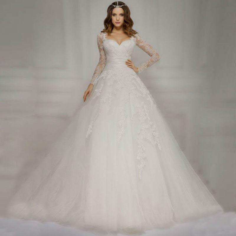 Vestido De Novia Detachable Long Sleeve Wedding Dresses 2016 Lace Applqiues Ball Gown Bridal Gown Robe de mariage Custon made