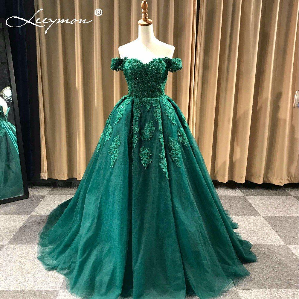 Off Shoulder Beaded Lace Tulle Evening Dresses 2017 Plus Size Wedding Party Dress Ball Gown Formal Dress Robe De Soiree