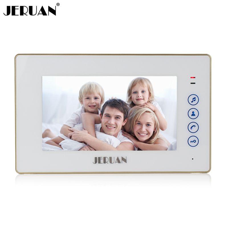 Jeruan 7 дюймов touch ключ Экран видеофонная дверная система только внутренний блок 720 Вт монитор + Адаптеры питания