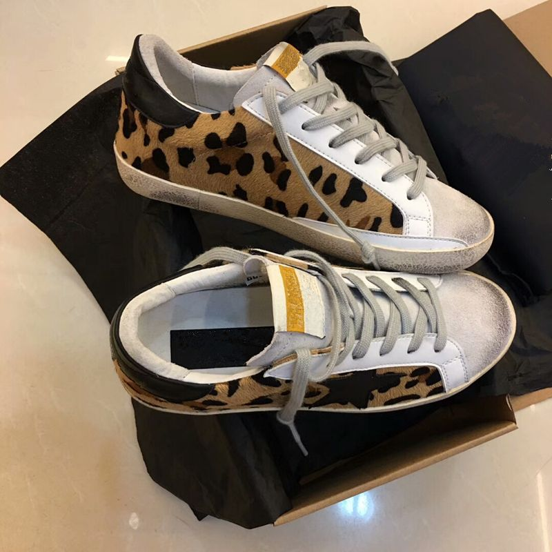 Leopard Fur Women Casual Shoes Round Toe Lace Up Outfit Loafers Golden Star Genuine Leather Lace Up Vintage Do Old Dirty Shoes