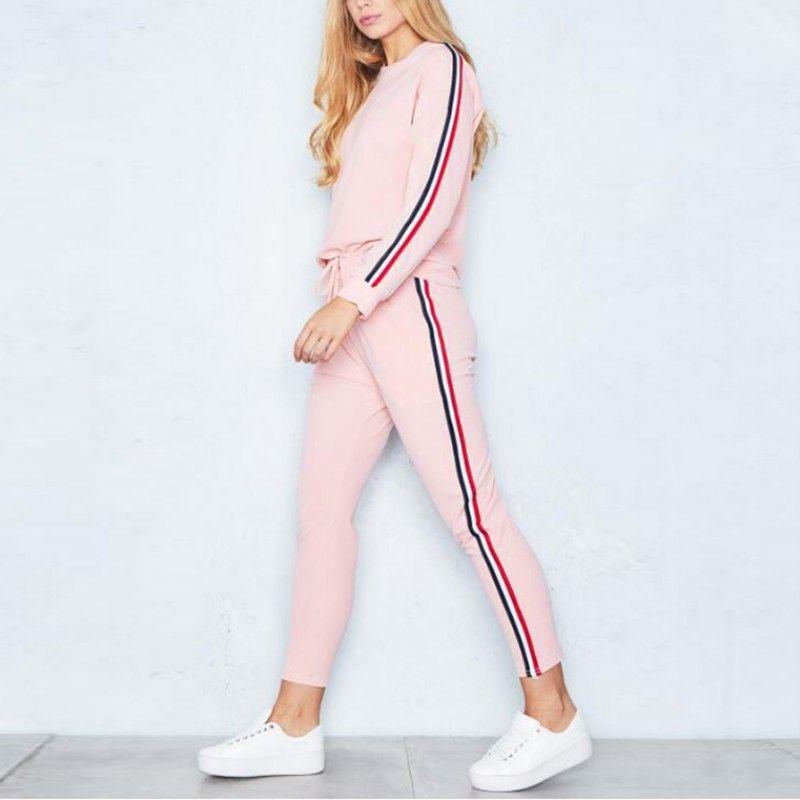 Fashion Women's Tracksuit Russia Style Women Clothes Sets 2-Piece Set t-shirts+Long Pants 2018