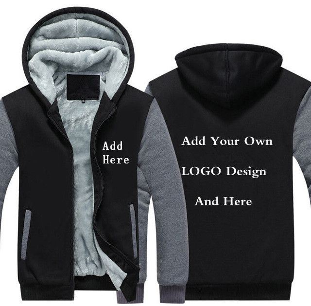 USA Size Men Hoodies Customize customer LOGO Pattern Print Design Winter Warm Fleece Thicken Men's Jackets Men's Coat