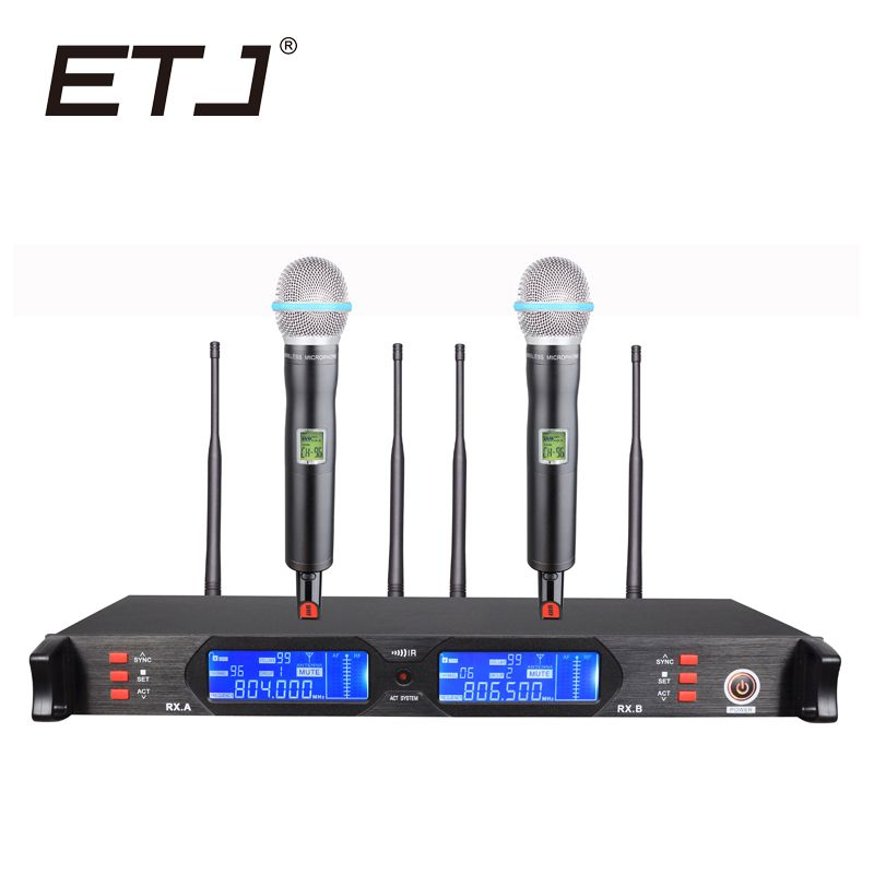 ETJ Brand True Diversity Professional Dual UHF Wireless Microphone 2 Transmitter 4 Receiver Stage Performance Microphone 880D