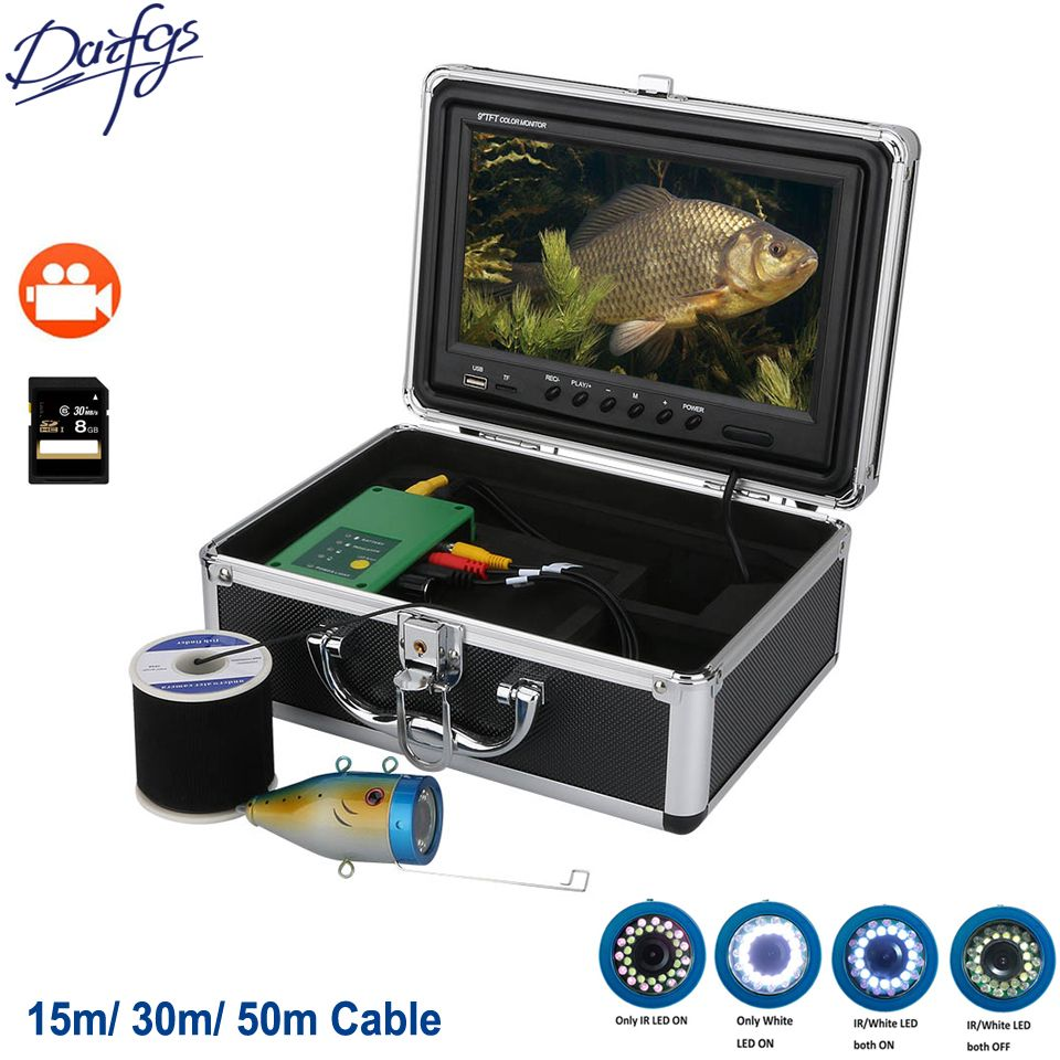 9 Inch DVR Recorder 1000TVL Underwater Fishing Camera 15M 30M 50M 30pcs LEDs For Ice/Sea/River Fish Finder For Fishing Camera