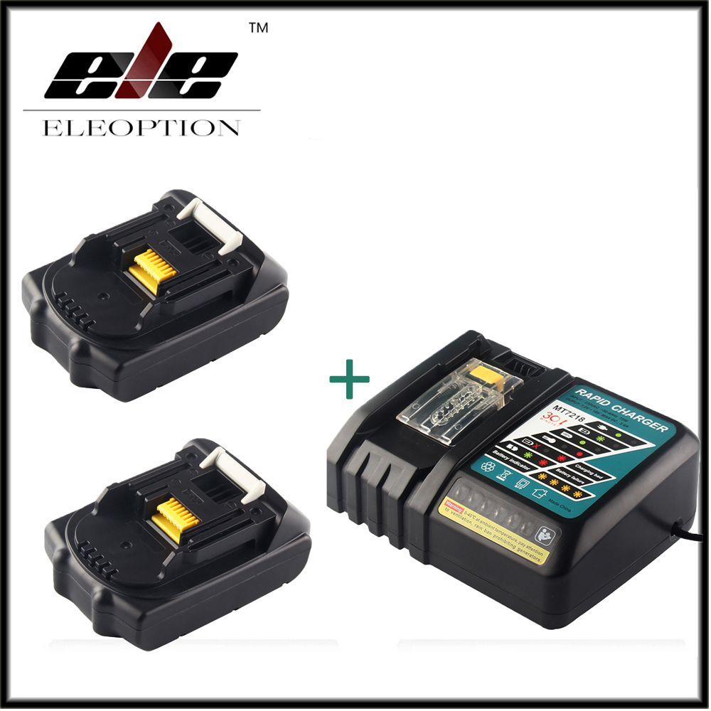 Eleoption 18V 2000mAh Li-ion 2 pcs Replacement Power Tool Battery For MAKITA 194205-3 194309-1 BL1815 + 7.2V-18V Charger