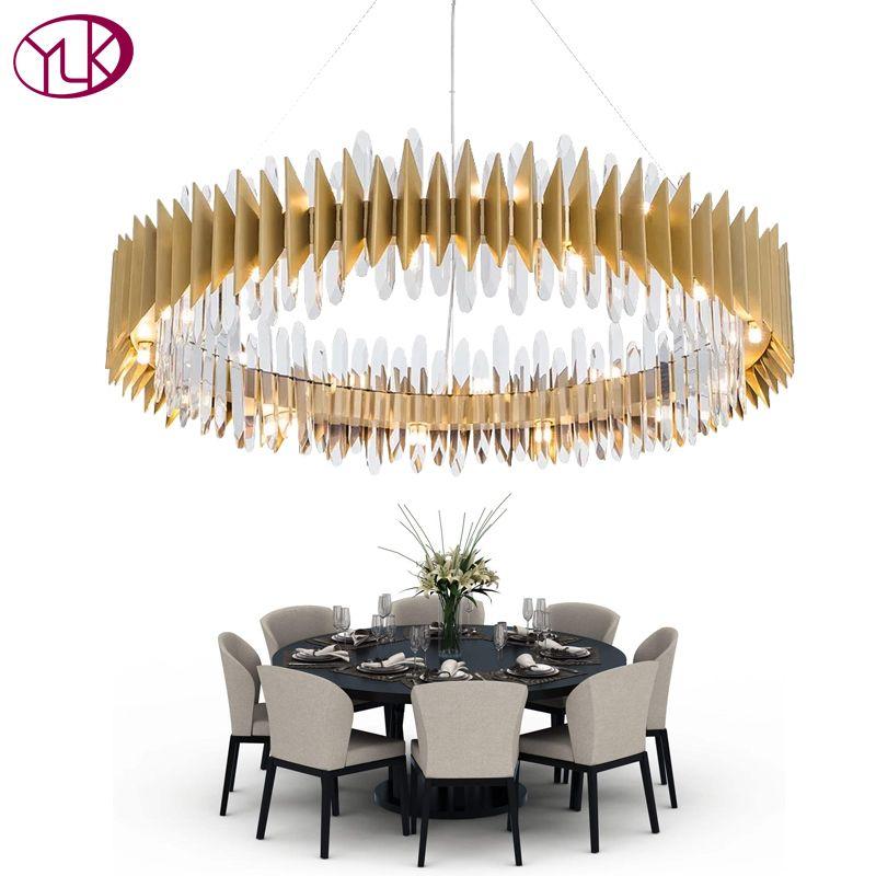 Youlaike Neue Design Kristall Lampe Kronleuchter Moderne Ring Gold LED Kronleuchter Leuchte Wohnzimmer Gold Cristal Lustre