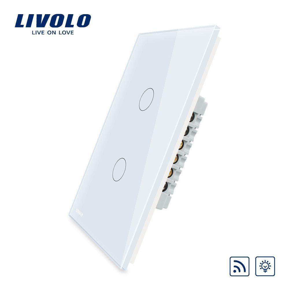 Livolo США/AU Беспроводной Диммер дистанционный выключатель света, Белый/Черный Кристалл Стекло Панель, AC110 ~ 250 В, vl-c502dr-11/12. без дистанционного