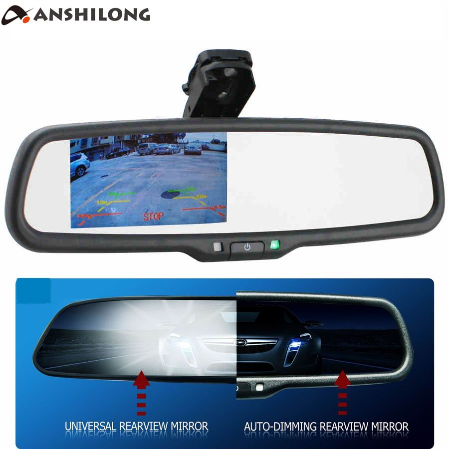 ANSHILONG OEM Auto Dimming Rear View Mirror with 4.3 inch 800*480 Resolution TFT LCD Car Monitor Built in Special Bracket