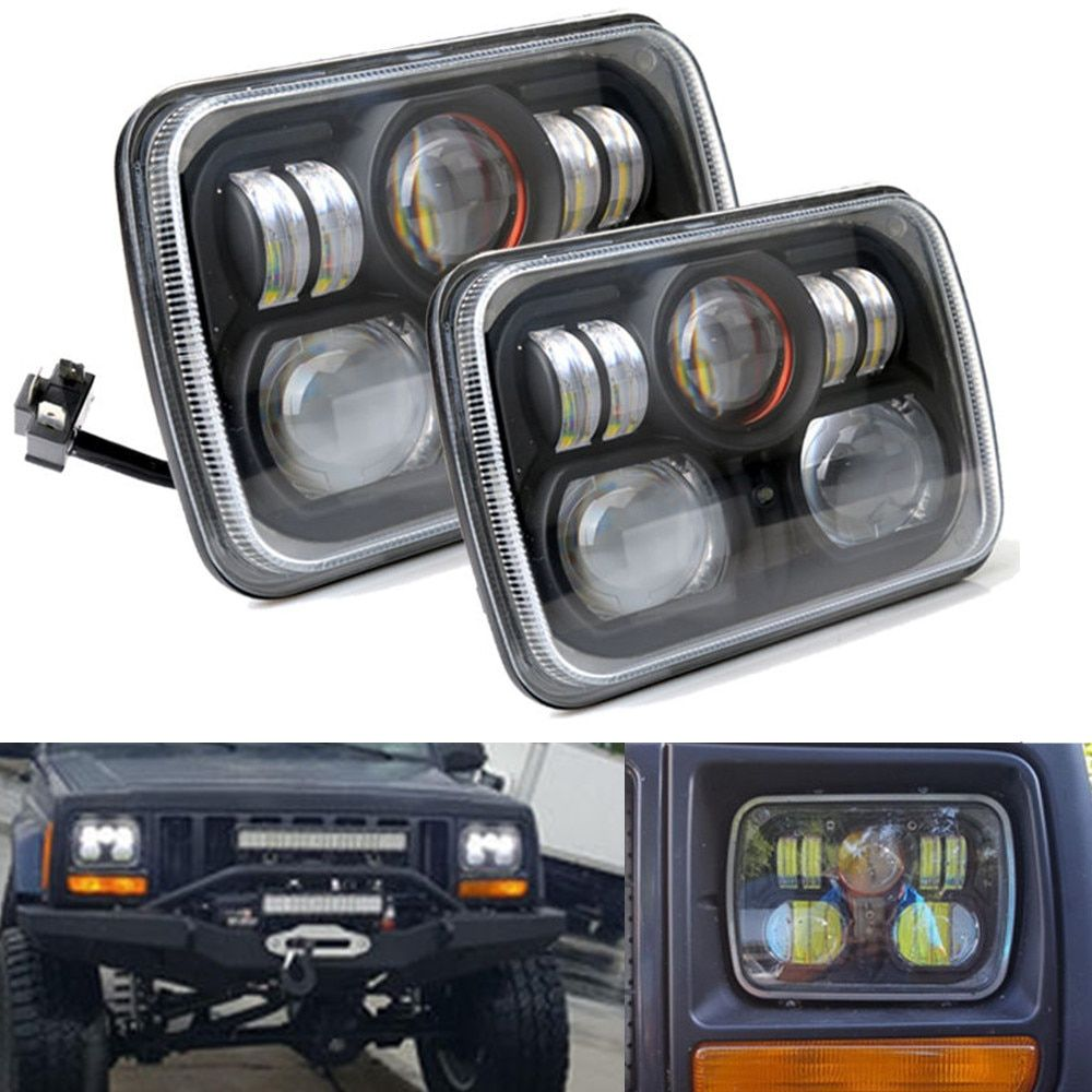 2 pcs Square Projector 7x6 5X7 inch LED Headlights H4 Light For Jeep Wrangler YJ Cherokee GMC