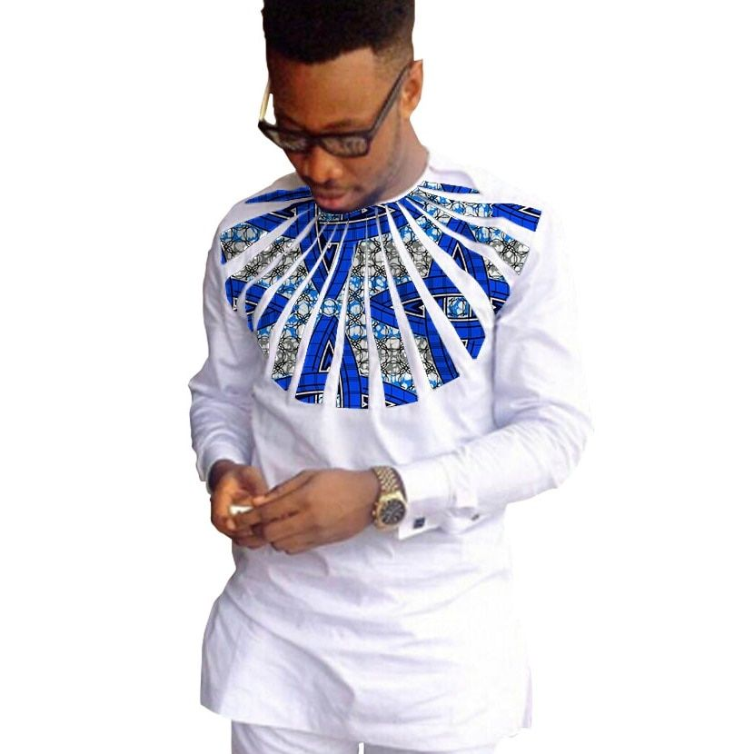 African fashion shirts men ankara print long sleeve dashiki shirts white cotton and wax patchwork o-neck top of africa clothing
