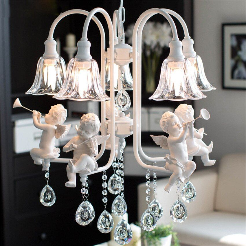 Modern Nordic Angel Led Pendant Light ,Fashion Creative Iron Resin Pendant Lamp glass Lampshade Hanging Lamp for Home Luminaire