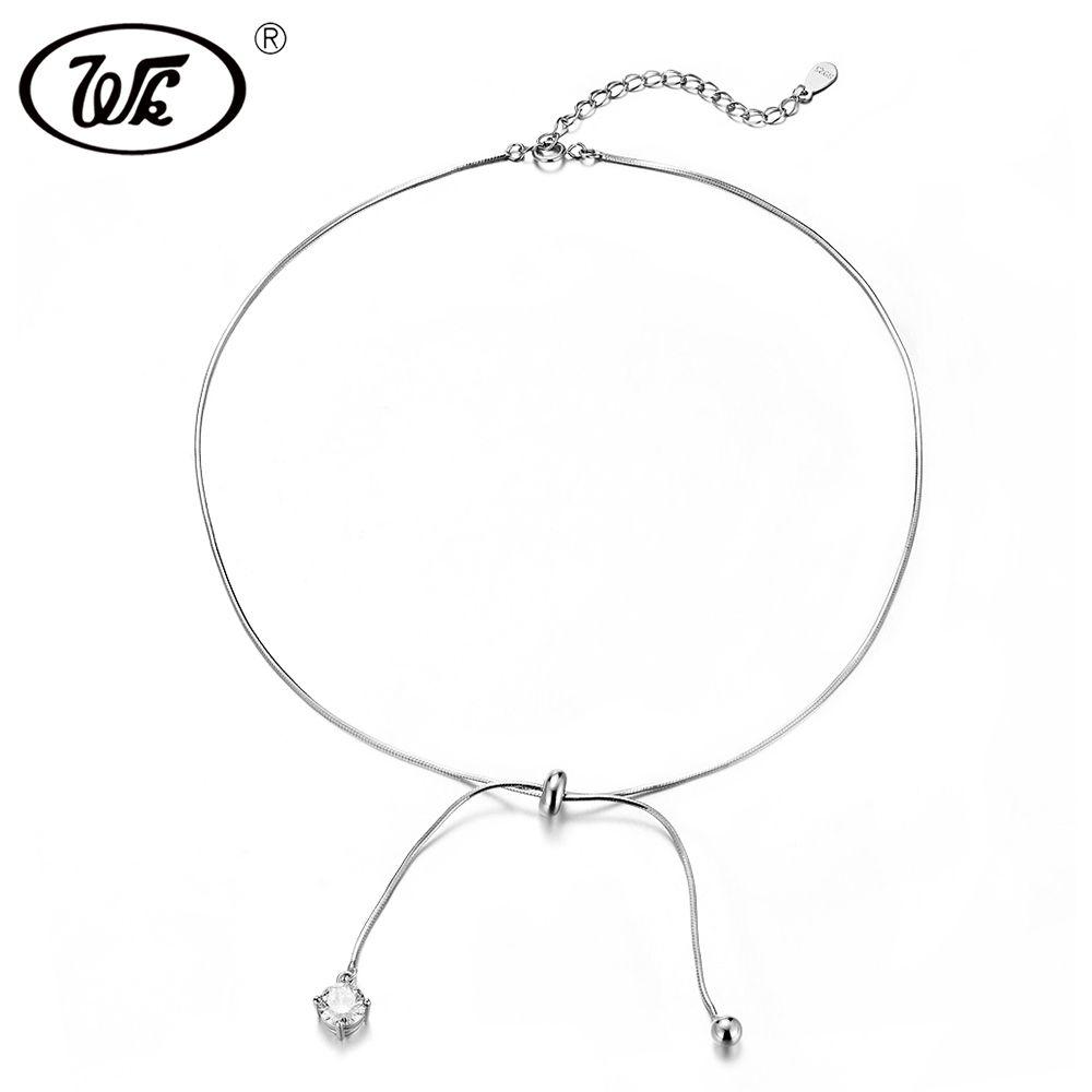 WK Trending Chocker 925 Sterling Silber Halsband Halskette Kurze Kette Mit Drop Ball Kristall Halsketten Für Frauen W4 NB092