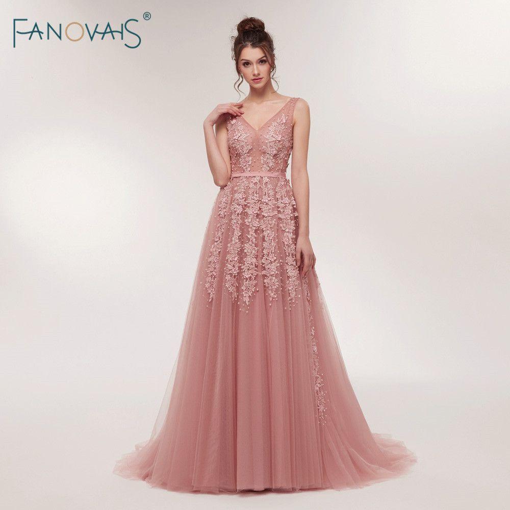 Sexy Evening Dresses Long 2018 V-Neck Prom Dresses Luxury Floral Beaded Evening Gown for Women Vestidos de Fiesta ASAE07