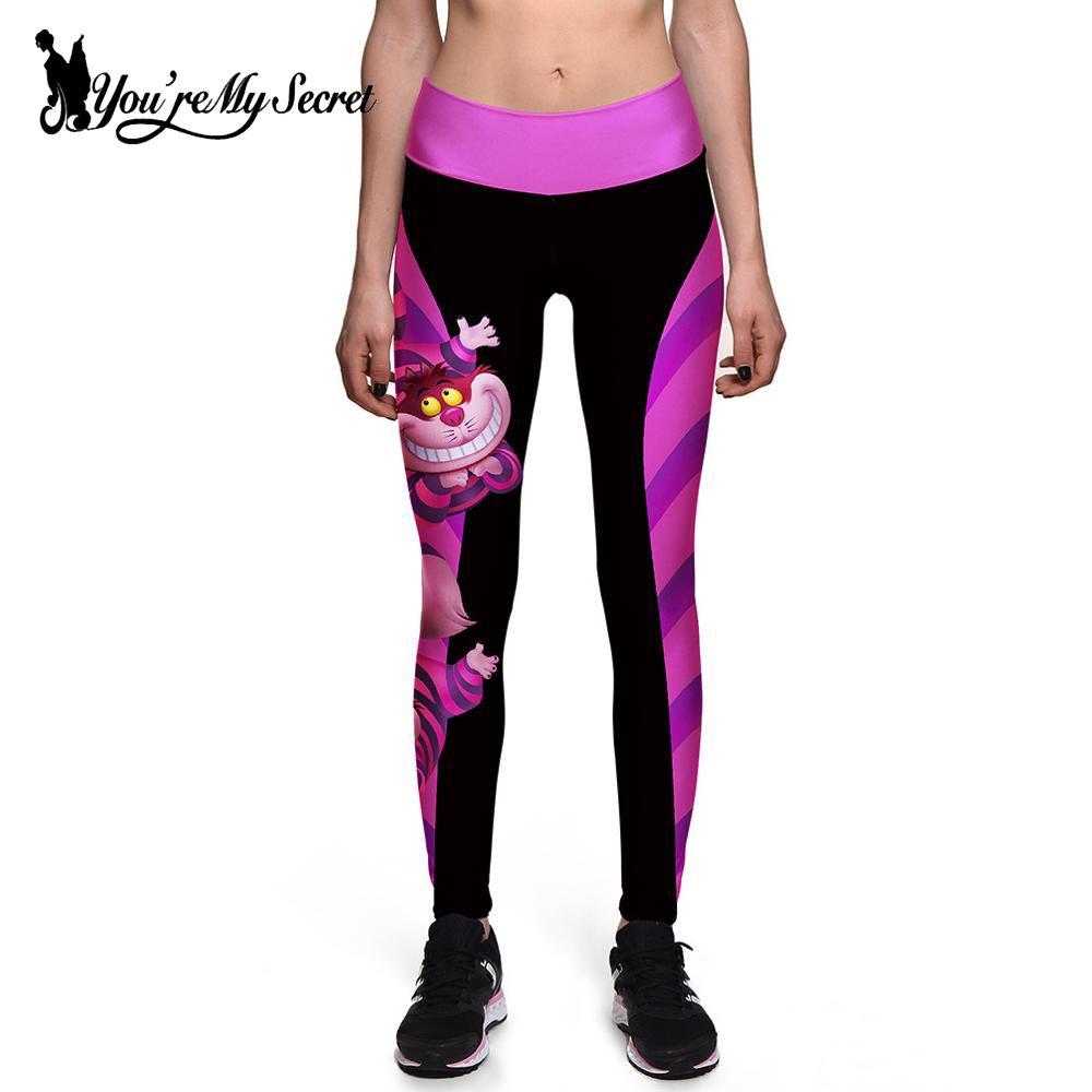 [Vous êtes mon Secret] Halloween femmes Leggings taille haute Silm Fitness Leggins Alice au pays des merveilles sourire chat impression numérique pantalon