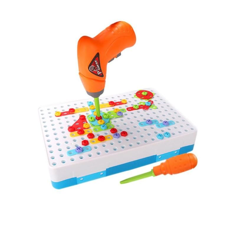 2019 Hot Kids Drill Puzzle Toys Baby Electric Drill Screw Group Toy Kits Jigsaw Building Toy for Children's Day Gift