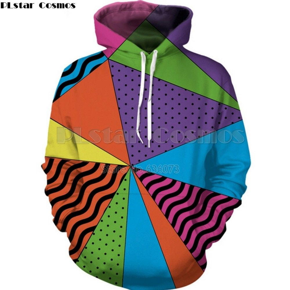 PLstar Cosmos Drop shipping 2018 Summer new Fashion 3d Hoodie 90 <font><b>Triangle</b></font> Colorful Print Mens Womens Casual Hooded sweatshirt
