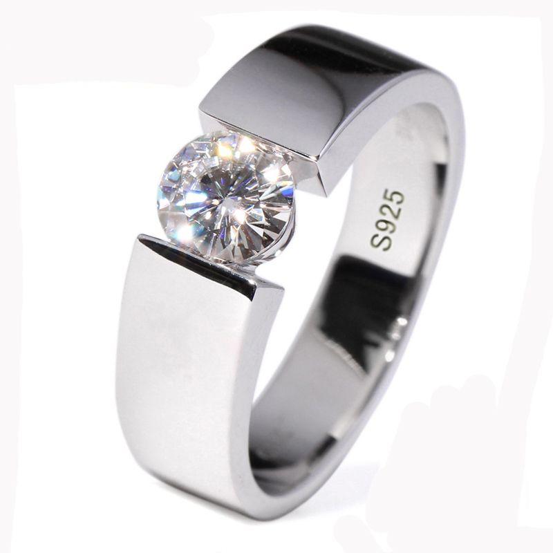 Big 95% OFF! YHAMNI 100% Original Solid Pure Silver Ring Men Jewelry 1 Carat CZ Zircon Engagement Wedding Rings For Men Gift D10