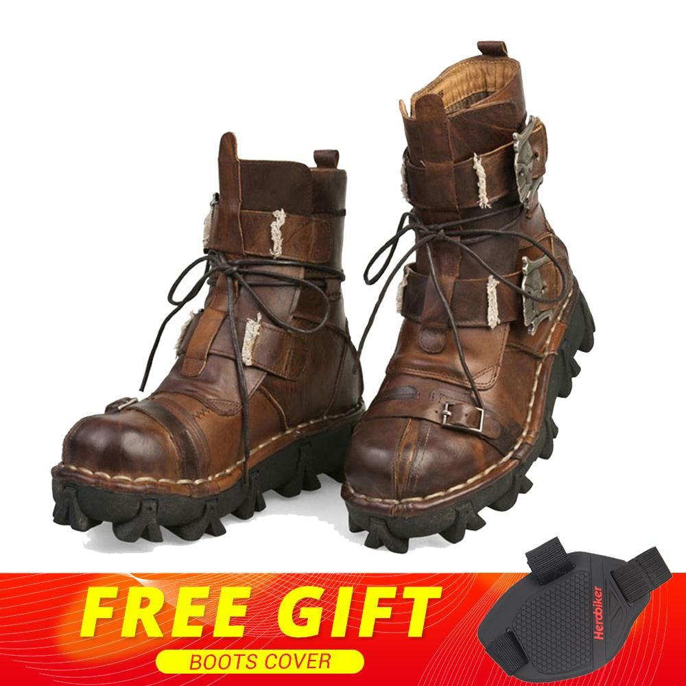 New Retro Cowhide Genuine Leather Motorcycle Boots Gothic Skull Punk Martin Boots Moto Steampunk Mid-calf Shoes Protective Gear