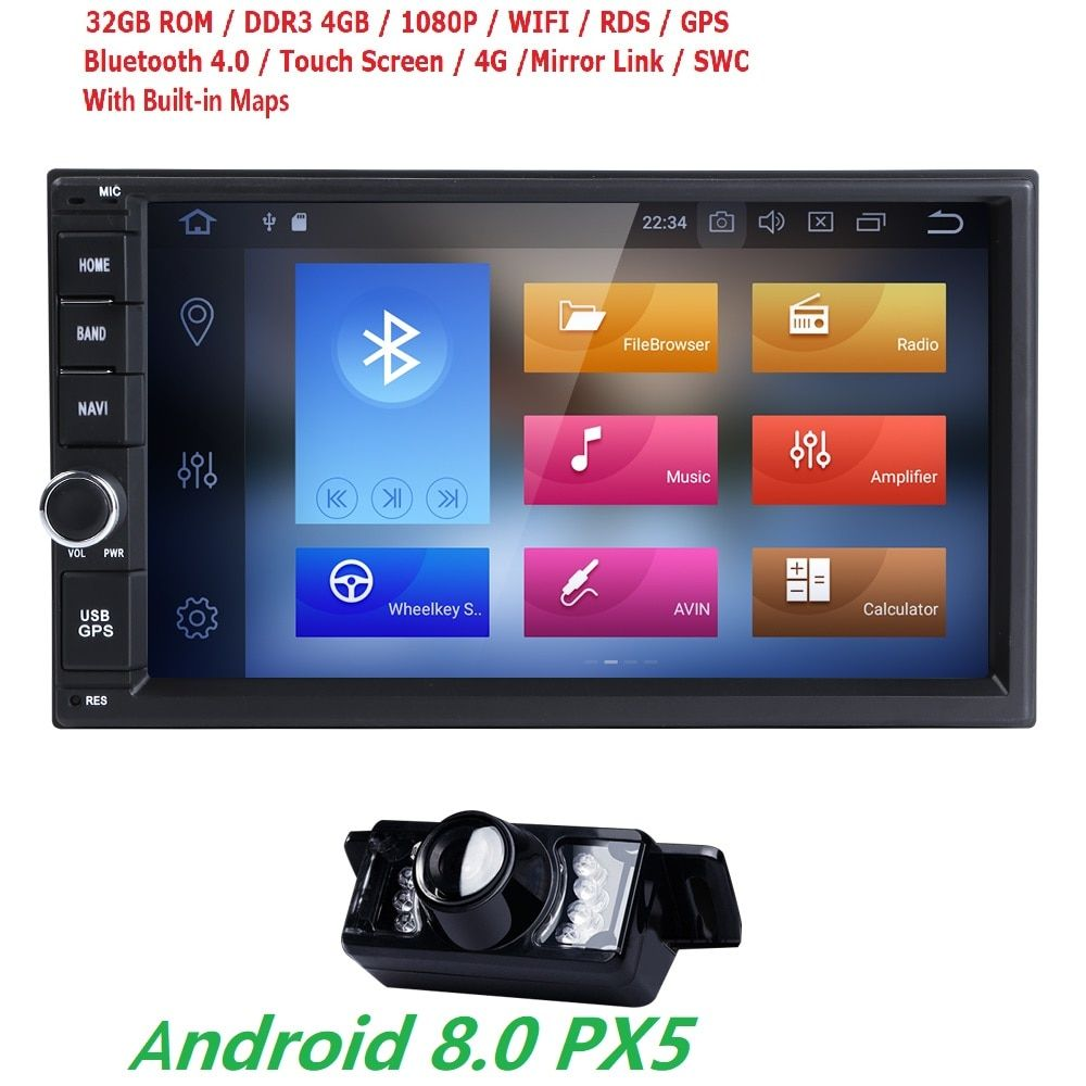 2DIN 7''HD Android 8.0 8Octa Core 4G RAM 32G ROM PX5 Universal Car Radio Stereo Multimedia Player GPS Map Steering Wheel DAB DTV