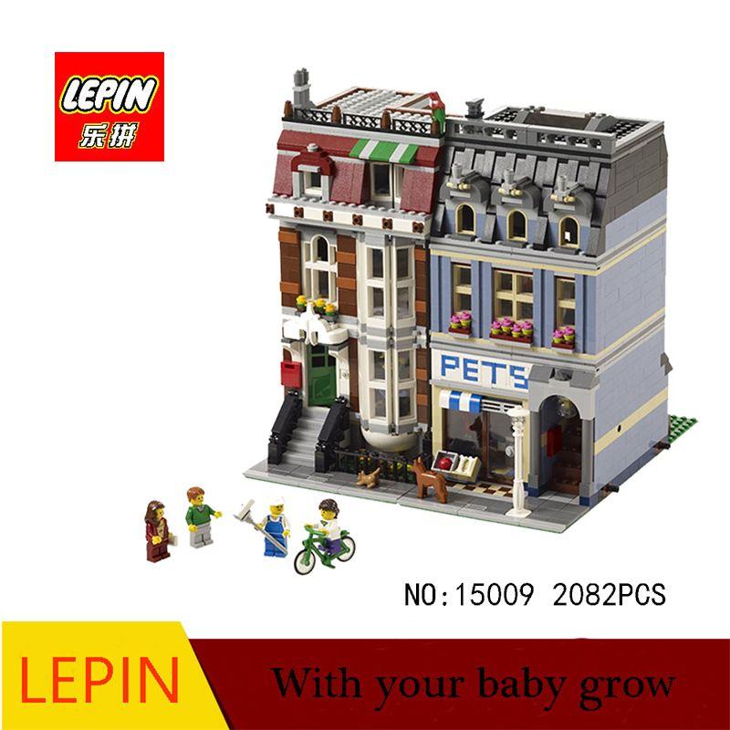 Lepin minecraft DHL LEPIN 15009 Pet Shop Supermarkt Modell Stadt Straße Bausteine Kompatibel mit legoed 10218 Spielzeug